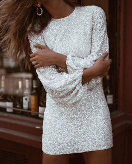 Jewel Neck Sexy Sequins Long Sleeves Puffed Sleeves Club Dress