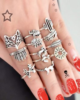 Knuckle Animal Leaf Embossed 12 Piece Ethnic Ring Set