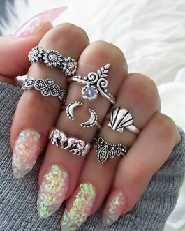 Knuckle Rings Ethnic Style Embossed Gems Ring Set In 7 Pieces