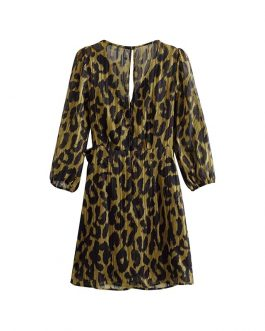 Leopard Print Short Dress V-neck Chiffon Mini Dress