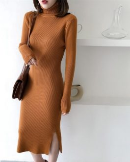Long Sleeve Casual Long Turtleneck Sweater Dress