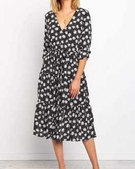 Long Sleeve Elegant Vintage A Line Floral Print Dress