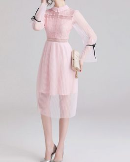 Long Sleeves High Collar Knotted Sheer Patch Lace Tulle Maxi Dress
