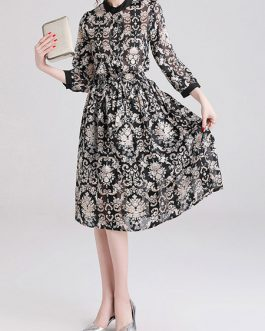 Long Sleeves Printed Jewel Neck Sheer Buttons Polyester Long Dress