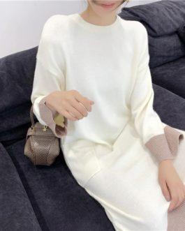 Loose Vestidos Chic Hit Thicken Pockets Sweater Dress