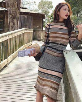 O-Neck Elegant Striped Vintage Slim Sweater Dress