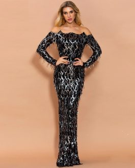 Off Shoulder Sequins Tassel Bodycon Party Maxi Dresses