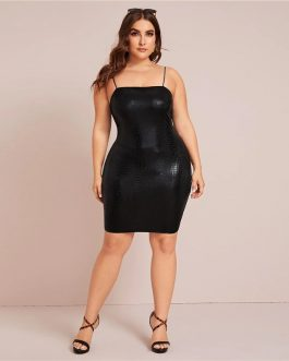 Plus Size Crocodile Embossed Cami Bodycon Dress
