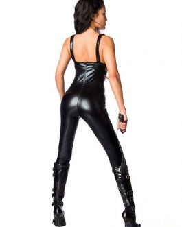 Pole Dance Costumes PU Leather Sexy Jumpsuit Night Club Wear Halloween