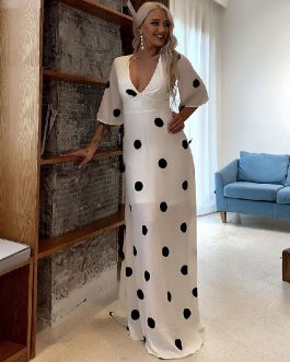 Polka Dot Sexy Ruffle Elegant Party Boho Maxi Dress