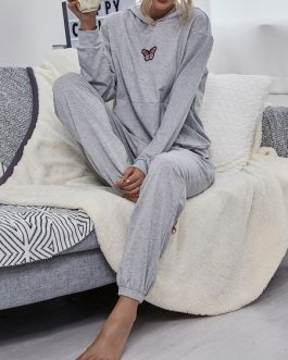 Polyester Cotton Butterfly Print Hooded Sweatshirt With Drawstring Pant