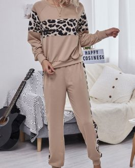 Polyester Cotton Jewel Neck Color Block Leopard Print Sexy Top With Pants