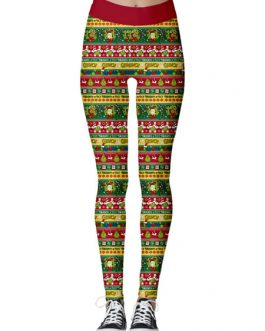 Polyester Raised Waist Bell Printed Skinny Casual Trousers