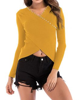 Pullovers Studded V-Neck Long Sleeves Irregular Wrap Crop Sweaters