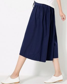 Pure Color Wide Legs Cotton Linen Elastic Waist Pant