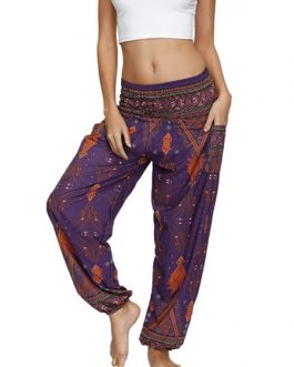 Raised Waist Printed Loose Leg Trousers