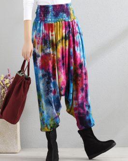 Retro Color Block Folk Style Elastic Waist Pant