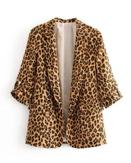 Retro Leopard Suit Pockets Notched Collar Three Quarter Sleeve Blazer
