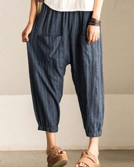 Retro Striped High Elastic Waist Harem Pant