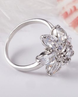 Rings Flower Cubic Zirconia Alloy Chic Jewelry