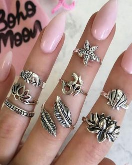 Rings Set In 8 Pcs Hollow Out Valentine Gift