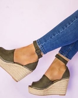 Rope Wedge Sandal – Suede Upper Material