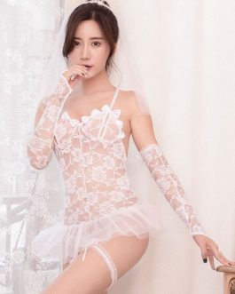 Sexy Bride Costumes Lace Ruffle Backless Halloween