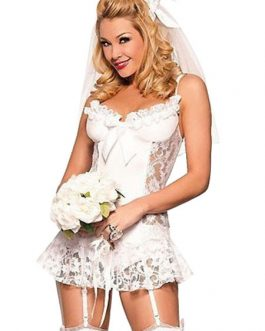 Sexy Bride Costumes Lace Ruffle Teddy Halloween