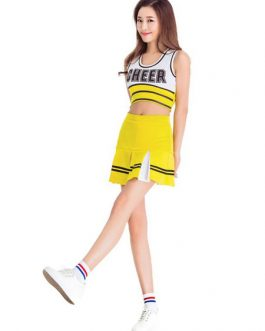 Sexy Cheerleader Costume Two Tone Lerrer Print Crop Top With Mini Skirt Halloween