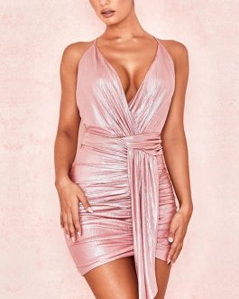 Sexy Deep V Backless Club Party Dress