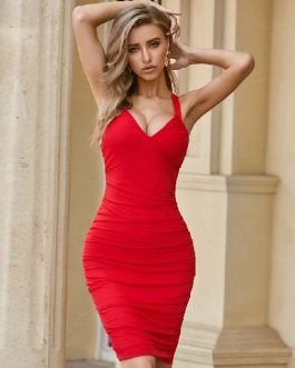 Sexy Deep V Nack Draped Spaghetti Strap Celebrity Bandage Dress