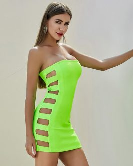 Sexy Hollow Out Celebrity Runway Bodycon Bandage Dress