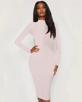 Sexy Backless Long Sleeve Bodycon Bandage Dress