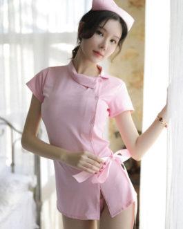 Sexy Nurse Costume Halloween Bowknot 3 Piece Lingerie Set