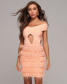 Sexy Off-Shoulder Feather Hollow Out Club Dresses