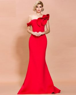 Sexy One Shoulder Ruffles Evening Party Maxi Dress