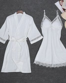 Sexy Robe Lace Gown Nightdress 2 PCS