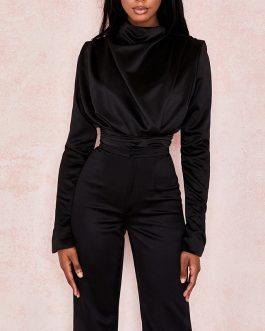 Sexy O Neck Long Sleeve Skinny Jumpsuit