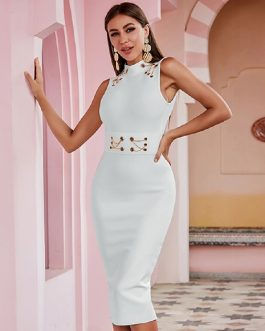 Sexy Runway Backless Hollow Out Celebrity Party Bandage Dress