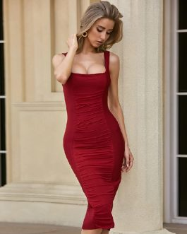 Sexy Runway Club Spaghetti Strap Celebrity Party Midi Dress