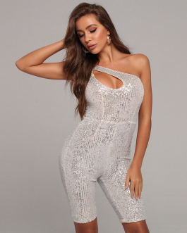 Sexy Sequined One Shoulder Hollow Out Bodysuit