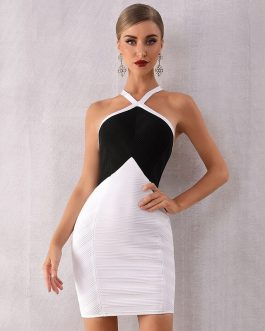 Sexy Sleeveless Halter Bodycon Party Dress