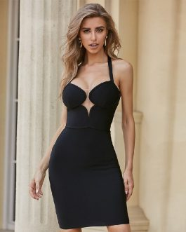 Sexy Sleeveless Halter Celebrity Runway Party Club Bandage Dresses