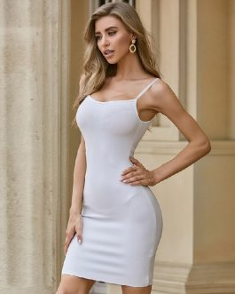 Sexy Sleeveless Vestidos Celebrity Runway Bodycon Dress