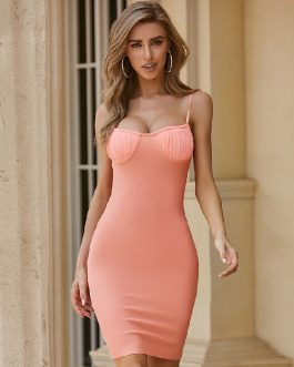 Sexy Spaghetti Strap Bodycon Celebrity Party Vestidos Bandage Dress