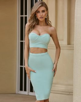 Sexy Strapless Top + Skrit Celebrity Club Party Bodycon 2 Pieces Set