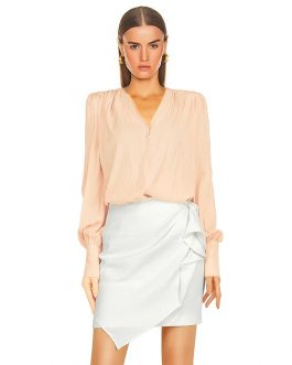 Sexy V-Neck Long Sleeve Top + High Waist Ruffle A-line Skirt Two Pieces