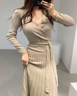 Sexy V-Neck Belted Knit Sweater Dresses