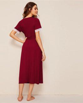 Short Sleeve Deep V Neck Sexy Nightwear Lingerie