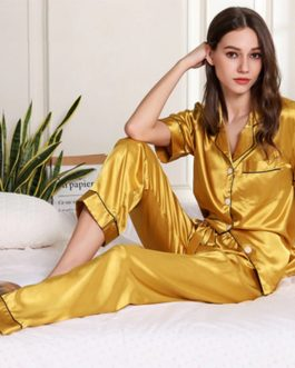 Short Sleeve Shirt Long Pants Nightwear